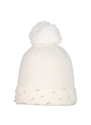 POKY Yeni Sezon Boncuklu Kız Çocuk 4-8 Yaş Polar Bere-2660-03 Beyaz